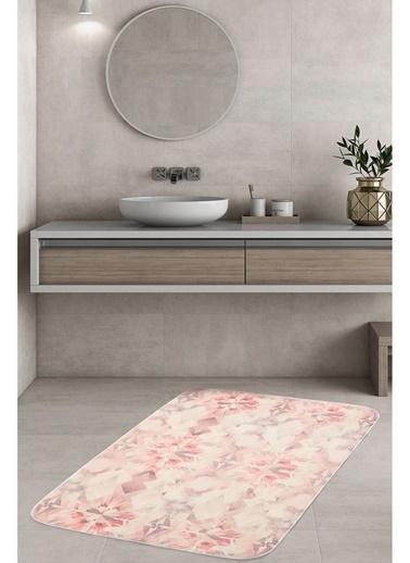 Hamur Diamond 75x125 cm Banyo Paspası Kaymaz Taban Banyo Halısı Pembe
